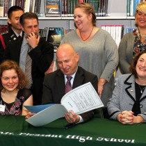 Governor Markell at Mt Pleasant High School signing Debra's Bill, HB 184, into law that allows for students with an Individualized Education Program (IEP) to have until age 21 to complete driver's ed and get a license.